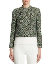 AKRIS Punto Diamond Jacquard Moto Cropped Jacket Agave Multi Green New