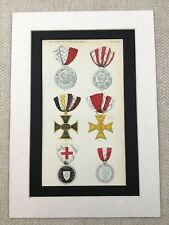 1858 Swiss Medals Order Military Iron Cross Switzerland Chromolithograph Print