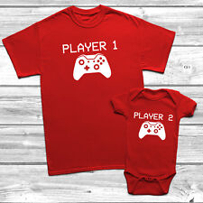 Player 1 And Player 2 Gamer T Shirt Daddy And Baby Xbox Dad Gift Funny Humour