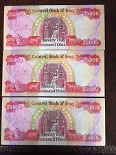 125,000 IRAQI DINAR (5) 25,000 NOTES! CRISP UNCIRCULATED! AUTHENTIC! IQD!