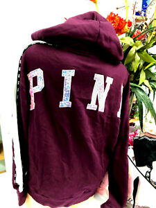 Victoria's Secret Pink Bling Fleece Lined Full Zip Hoodie Burgundy NWT