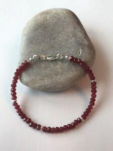 Ruby Faceted Gemstones - Women Bracelet - 925 Sterling Silver - Free UK P&P
