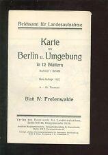 Karte  Reichsamt Berlin und Umgebung FREIENWALDE 1922