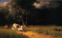 Art Oil painting nice landscape The Ambush running horses & carriage sunset 36""