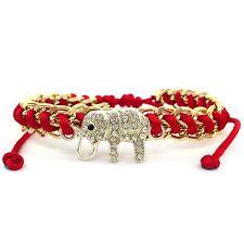 New Summer Gold Chain Rhinestone Silver Elephant Red Shamballa Pull  Bracelet