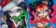 Jasmine Becket-Griffith Art SIGNED Pair of 6x6 FoF PRINTS Christmas Dragonlings