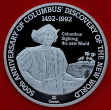 1992 Turks Caicos Large Silver Proof 20 crowns Columbus New World