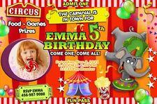 CIRCUS CARNIVAL CLOWN BIRTHDAY PARTY INVITATION PHOTO 1ST - C27 - elephant cards