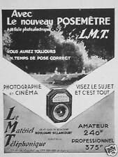 PUBLICITÉ L.M.T. LE NOUVEAU POSEMÈTRE PHOTOGRAPHIES ET CINÉMA