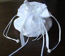 White Satin Bridal Dolly Bag / Wedding Flowergirl Handbag Free P&P