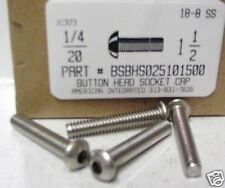 1/4-20x1-1/2 Button Head Hex Socket Cap Screws Stainless Steel (12)