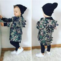 Kids Baby Boys Camouflage Hoodies Dinosaur Zip Hooded Jacket Coat Windbreaker BF