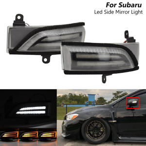 Clear Sequential LED Side Mirror Signal Lights For Subaru WRX STI Legacy Impreza