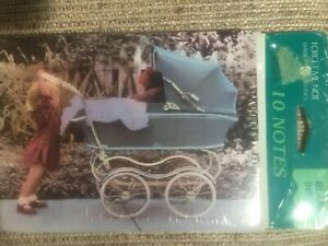 Set Of 10 Child Teddy Bear In Stroller  Blank Notes Blank Inside