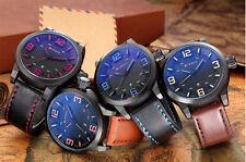 Moda Reloj de Cuarzo Hombre Militar Cuero Sport Pulsera Acero Fecha y Analógico