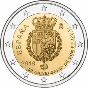 Spain, 2018, 50th Birthday of King Felipe VI 2 euro coin
