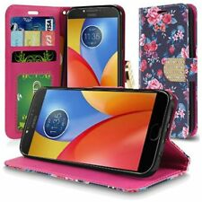 For Motorola Moto E4 Plus 4G 2017 Bling Flip Wallet Case Slots - Tropical Roses