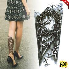 Black Gothic Clock Unisex Temporary Tattoos Waterproof Arm Body Art Sticker aa