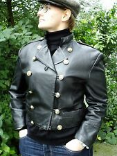 Vtg 90s Military Style Black Genuine Leather Jacket 10/12  38/40   Steam Punk...