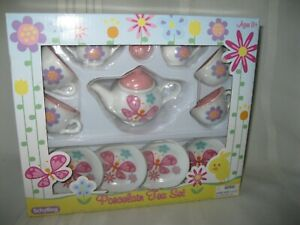 New 2009 Schylling  Spring Butterfly 13 Piece Porcelain Tea Set