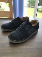 Clarks Artisan Unstructured Suede Slip On Navy Shoes Size 6
