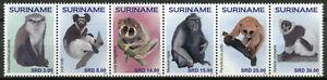 Suriname Wild Animals Stamps 2020 MNH Monkeys Primates Macaques Fauna 6v Strip