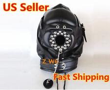 PVC LEATHER Black Padded Locking Hood Blindfold Full Mask O Ring Mouth Cap Play