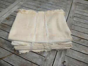 10 Ancien torchon serviette nid d'abeille coton Rinceaux  Fleurs  NEUF