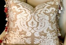 STROHEIM GOLD SILK CHINOISERIE; SCALAMANDRE SILK TRIM PILLOW