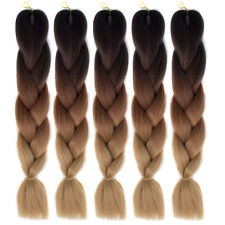 "24"" Black Ombre Brown 5pcs Kanekalon Jumbo Synthetic Braiding Hair Extensions"
