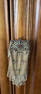 Antique Mesh Handbag With Jeweled Frame Rhinestones Mosaic Enamel Gold Tone