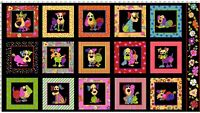 Dog Happy Panel - Quilting Fabric - 100% Cotton PANEL ONLY