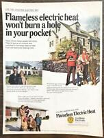 ORIGINAL 1968 Flameless Electric Heat PRINT AD Families and Their Homes