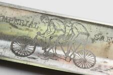 Antique Straight Razor w/ CYCLISTS on TANDEM BICYCLE etched on blade c.1898