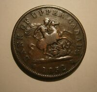 "1852 BANK OF UPPER CANADA ONE PENNY BANK TOKEN ""WE COMBINE SHIPPING""  #17-264"