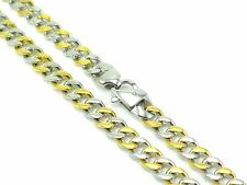 Chain Necklace Stainless Steel Mens Curb Cuban Link Gift 2-Tone Polished 80g