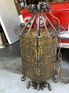 Hanging rustic metal, color glass, light, Vintage chandelier