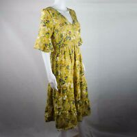 Unbranded Floral Summer Dress in Yellow Mid Calf Length One Size Short Sleeve