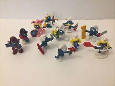 Lot Of 11 Vintage Smurfs Figures 1980's Easter Valentine Smurfette Handy Cowboy