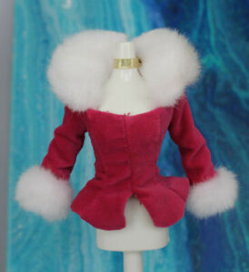 NEW Barbie Doll Pink Top Shirt Long sleeve White Fur Trim Gold Necklace choker