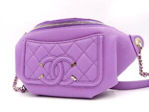 CHANEL CC Filigree Matelasse Body Bag Waist Pouch Caviarskin Purple AS0929 V6933