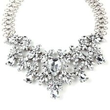 BRAND NEW BEAUTIFUL ZARA DESIGN CLEAR CRYSTAL & SILVER CLUSTER STONES NECKLACE