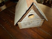 Handmade Rustic Bird House made from old barn wood with slate roof and chimney