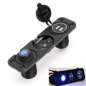 Car Rocker Switch Panel with Blue LED Voltmeter USB Charger Cigarette Lighter