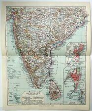 Original 1924 German Map of Southern India & Ceylon. Vintage