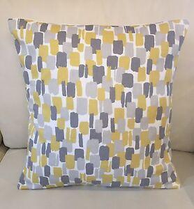 """Clarke And Clarke Handmade Cushion Cover 16x16"""" In Sundowner Fabric Mustard Grey"""