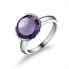 Wedding Fine Jewelry Tension 10mm Round 4.1ct Amethyst Solid 14k White Gold Ring