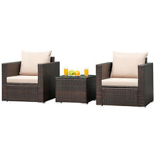 3Pcs Patio Rattan Furniture Set Wicker Conversation Sofa Set w/Cushion Garden