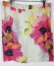 Ann Taylor Loft Skirt Size 8 Beige Pink Watercolor Floral Linen Blend Career