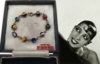 VINTAGE ART DECO VENETIAN MILLEFIORI BEADS BRACELET COLOURFUL BEAUTIFUL GIFT